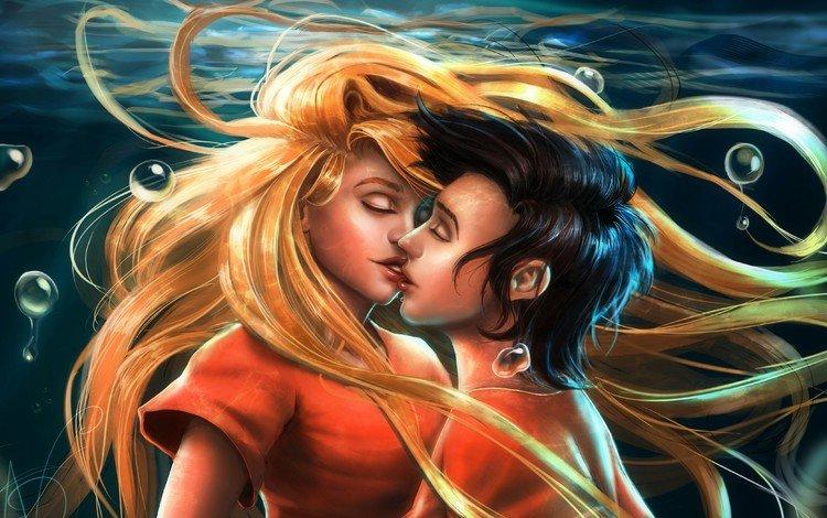 девушка, закрытые глаза, парень, под водой, любовь, губы, пара, поцелуй, влюбленные, girl, closed eyes, guy, under water, love, lips, pair, kiss, lovers