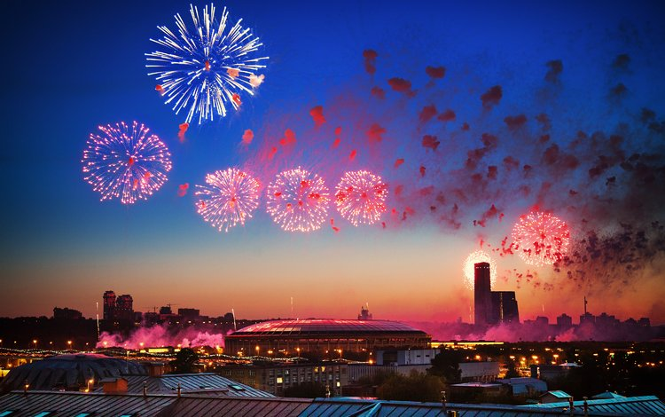 night, moscow, salute, the city, victory day, russia, holiday, fireworks, may 9