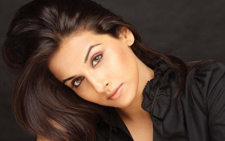 eyes, girl, portrait, brunette, look, model, lips, face, actress, bollywood, 100, vidya balan