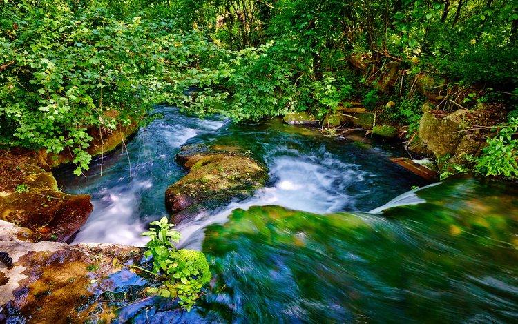 вода, река, природа, камни, листья, ветки, водопад, поток, water, river, nature, stones, leaves, branches, waterfall, stream