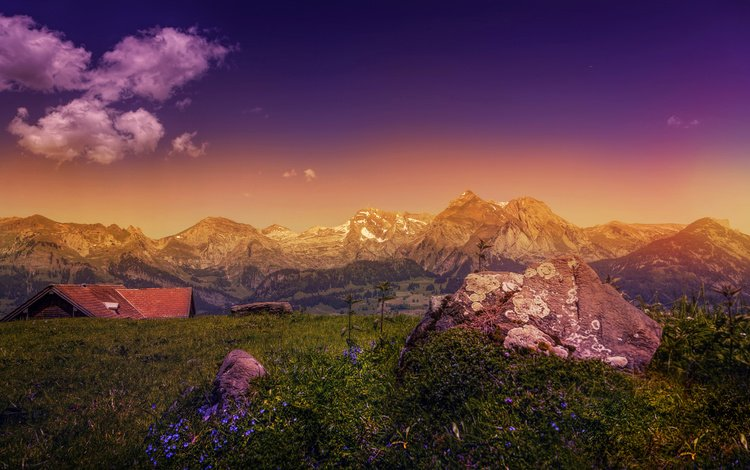 the sky, clouds, mountains, stones, landscape, house, alps