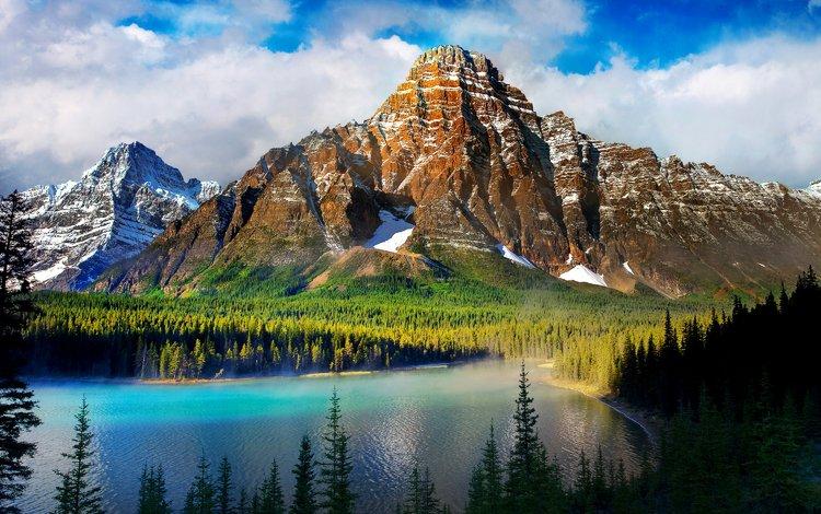 небо, облака, деревья, озеро, горы, снег, лес, сосны, the sky, clouds, trees, lake, mountains, snow, forest, pine