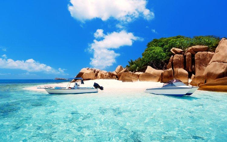 sea, beach, boats, island, tropics, 11, seychelles