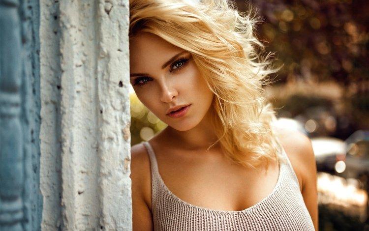 девушка, carla, миро hofmann, блондинка, портрет, взгляд, стена, модель, волосы, лицо, girl, miro hofmann, blonde, portrait, look, wall, model, hair, face
