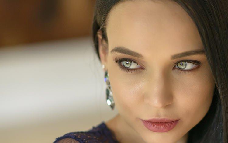 girl, portrait, look, hair, face, earrings, angelina petrova