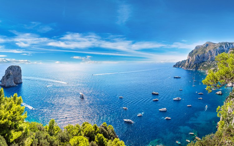 sea, yachts, islands
