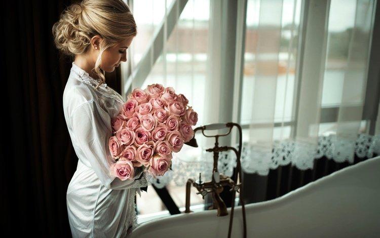 цветы, janis balcuns, девушка, блондинка, розы, профиль, букет, окно, невеста, flowers, girl, blonde, roses, profile, bouquet, window, the bride
