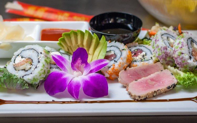 цветок, мясо, орхидея, соус, суши, роллы, морепродукты, flower, meat, orchid, sauce, sushi, rolls, seafood