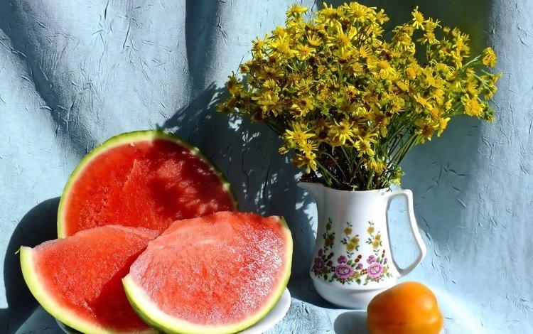 цветы, арбуз, букет, ваза, кувшин, натюрморт, flowers, watermelon, bouquet, vase, pitcher, still life