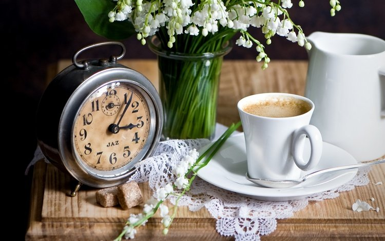 flowers, coffee, watch, lilies of the valley, bouquet, cup, napkin, alarm clock