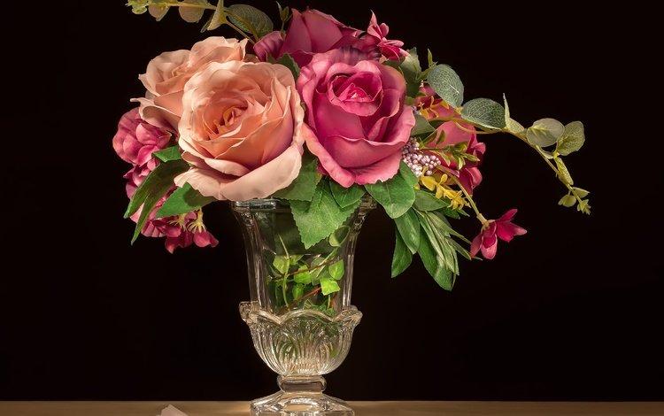 flowers, buds, roses, petals, petal, black background, vase