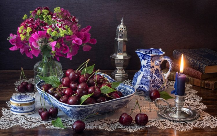 flowers, style, books, bouquet, berries, candle, cherry, pitcher, still life, candle holder