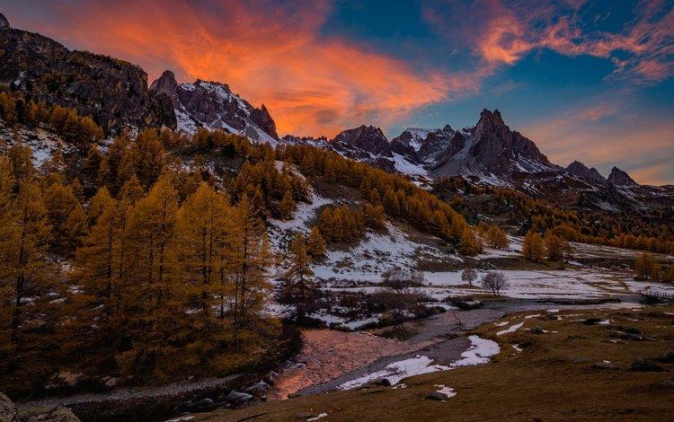 деревья, река, горы, снег, осень, франция, альпы, trees, river, mountains, snow, autumn, france, alps