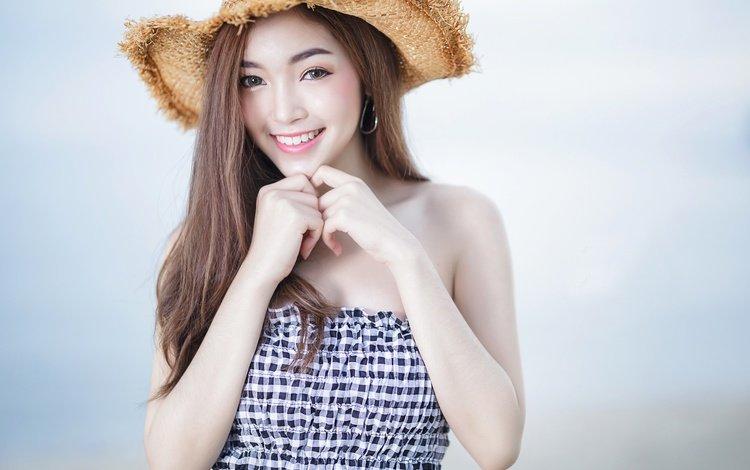 girl, mood, background, smile, hands, hat, asian