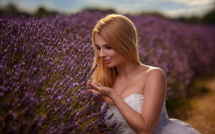 flowers, girl, dress, blonde, field, lavender, makeup, grass, neckline, bartosz branka