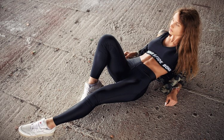 girl, pose, lies, figure, sneakers, sports wear, on the floor