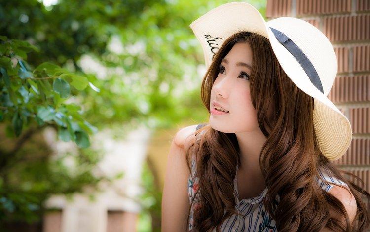 девушка, взгляд, волосы, лицо, шляпа, азиатка, girl, look, hair, face, hat, asian