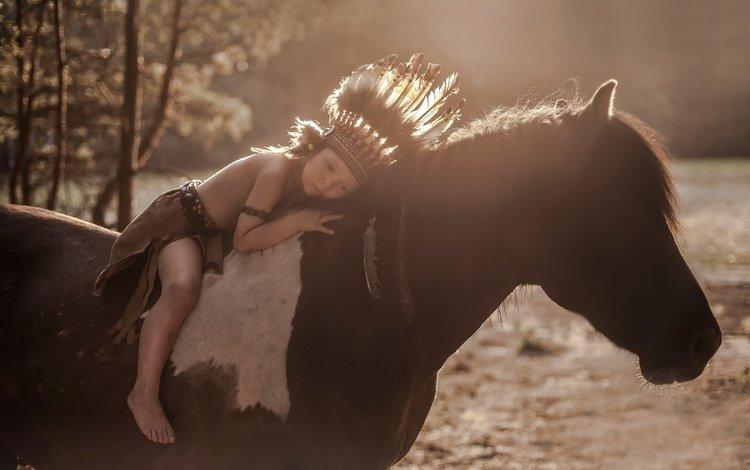 лошадь, фон, перья, мальчик, конь, грива, головной убор, horse, background, feathers, boy, mane, headdress