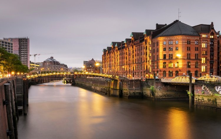 lights, the evening, river, channel, home, building, germany, hamburg