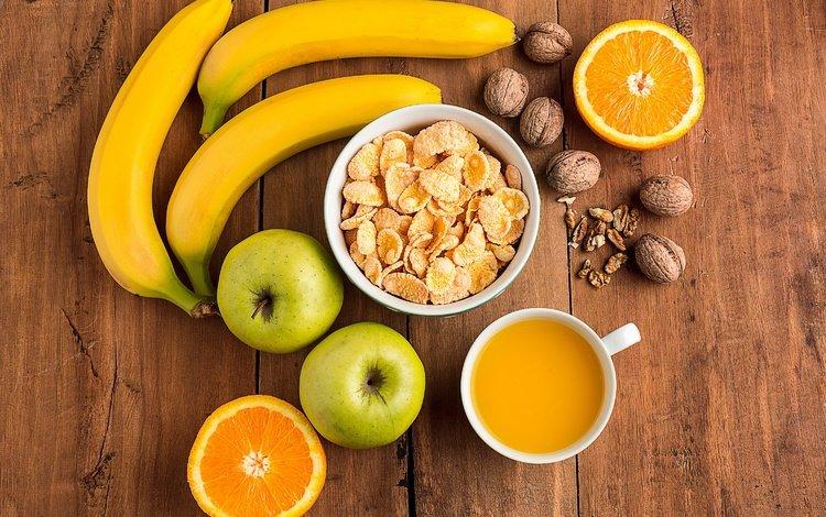 орехи, сок, фрукты, яблоки, апельсины, завтрак, бананы, цитрусы, хлопья, nuts, juice, fruit, apples, oranges, breakfast, bananas, citrus, cereal