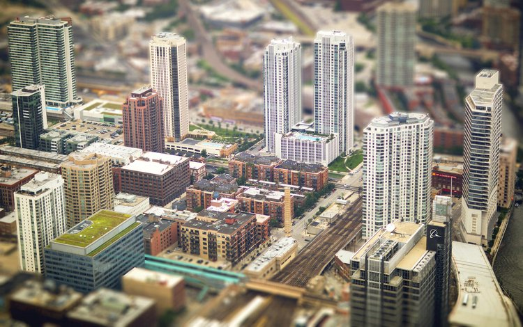 the view from the top, the city, usa, tilt shift, architecture, building, street, chicago, a. petrova & b. wootla