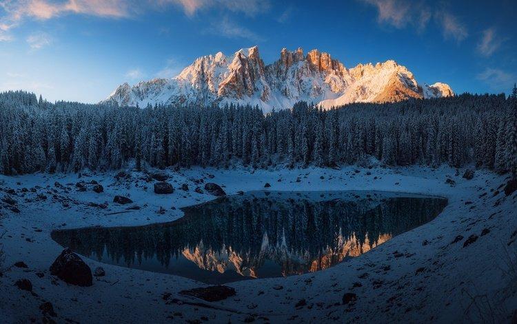 небо, деревья, горы, снег, лес, отражение, италия, доломитовые альпы, the sky, trees, mountains, snow, forest, reflection, italy, the dolomites
