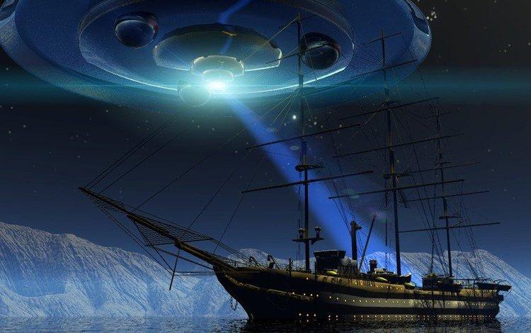 горы, снег, космос, абстракция, корабль, луч, нло, mountains, snow, space, abstraction, ship, ray, ufo