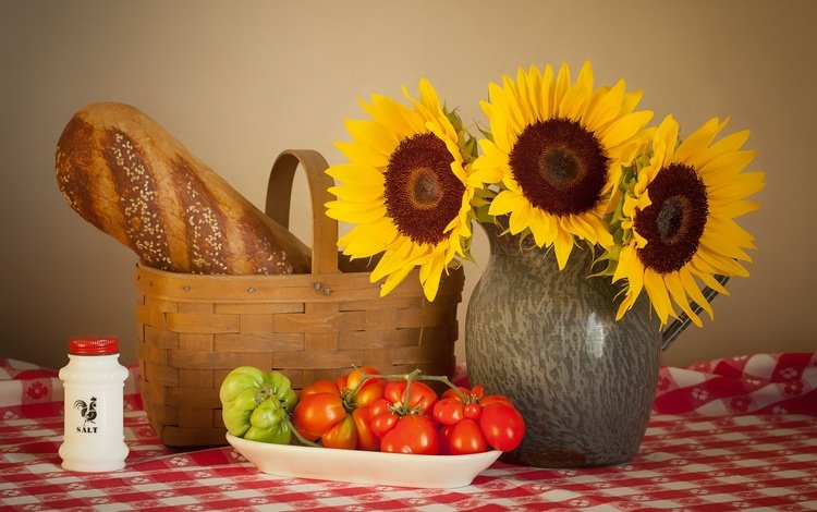 bread, basket, sunflowers, vegetables, tomatoes, still life, salt
