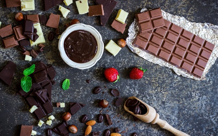 mint, nuts, berry, strawberry, chocolate, coffee beans, almonds