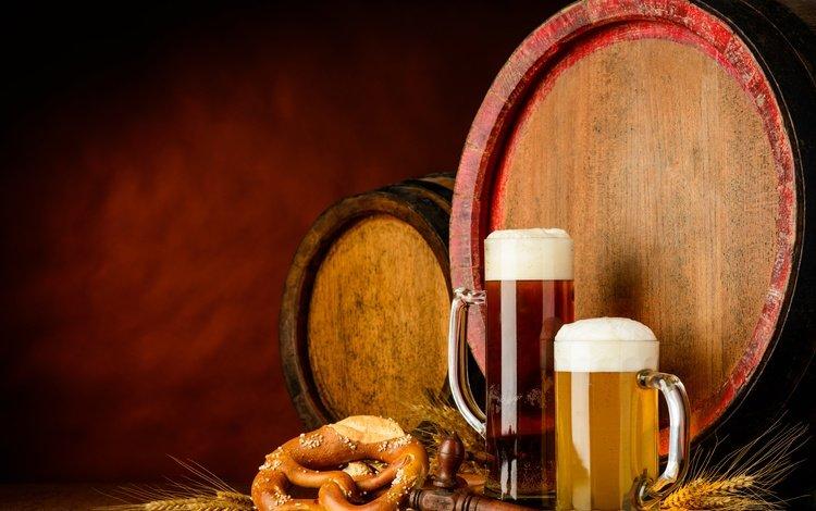 ears, glasses, beer, barrels, foam, pretzel