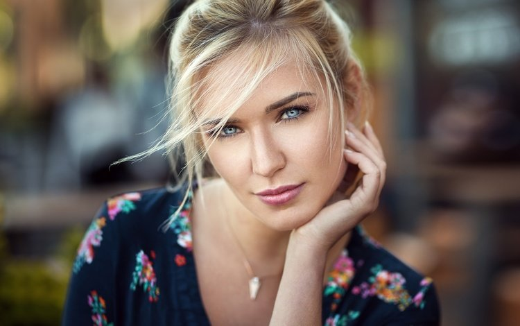 blonde, portrait, look, model, lips, face, blue eyes, lods franck, eva mikulski