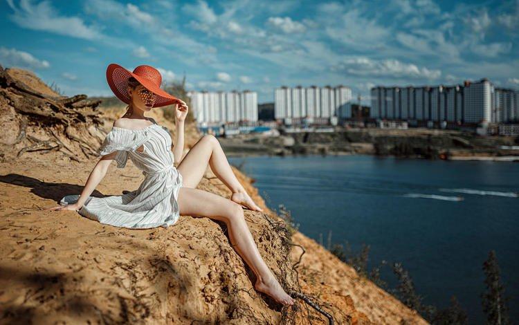поза, модель, ножки, шляпа, белое платье, георгий чернядьев, ksenia, pose, model, legs, hat, white dress, george chernyadev
