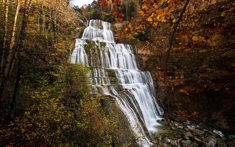 природа, камни, лес, скала, водопад, осень, франция, утес, cascade du herisson, nature, stones, forest, rock, waterfall, autumn, france