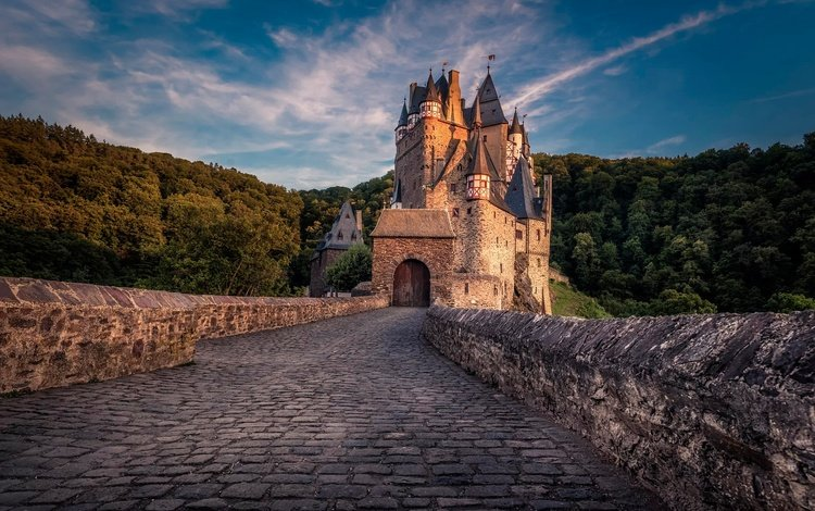 небо, облака, лес, закат, замок, германия, burg eltz, the sky, clouds, forest, sunset, castle, germany