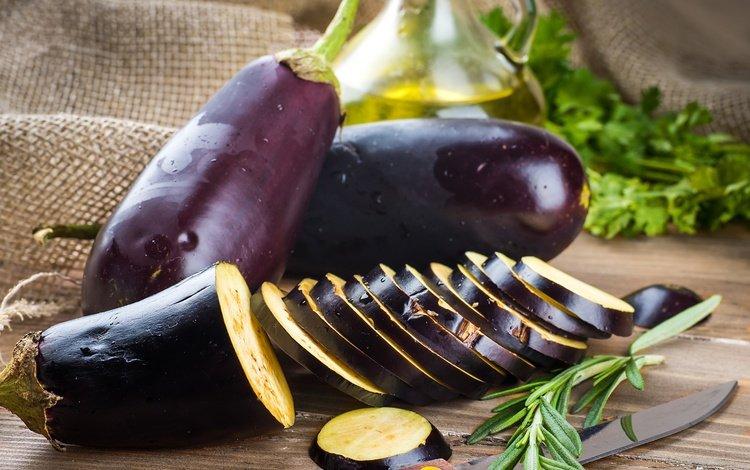 greens, oil, vegetables, eggplant, burlap