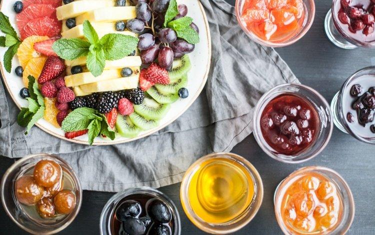 мята, фрукты, джем, ягоды, скатерть, варенье, сироп, фруктовый салат, mint, fruit, jam, berries, tablecloth, syrup, fruit salad