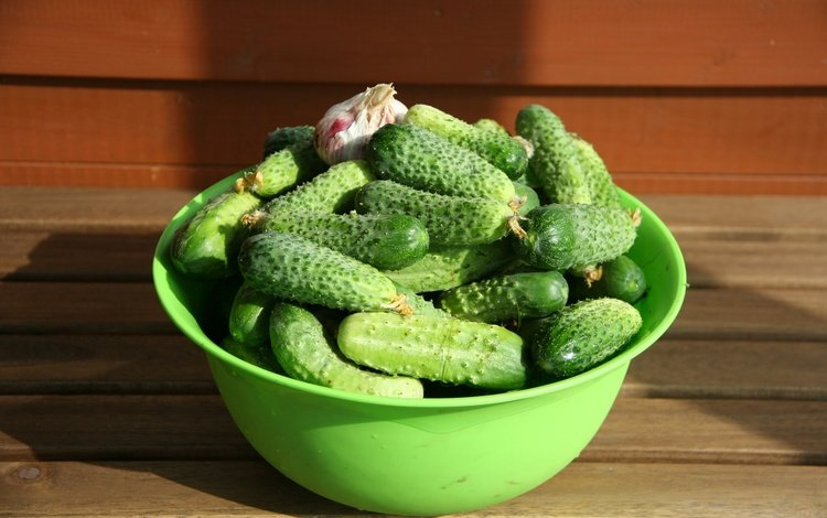 vegetables, bowl, garlic, cucumbers, ogurtsy, wooden surface, gherkins