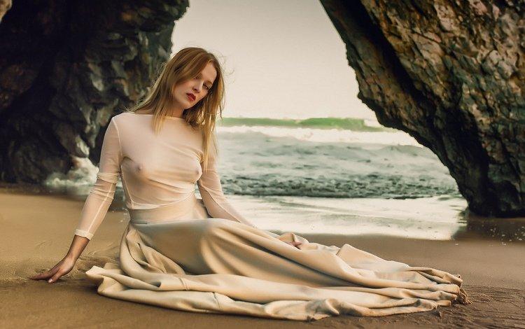 скалы, грудь, море, позирует, платье, поза, песок, пляж, побережье, модель, rocks, chest, sea, posing, dress, pose, sand, beach, coast, model