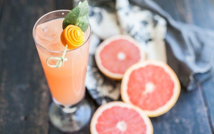 drink, fruit, glass, citrus, grapefruit, juice, wooden surface