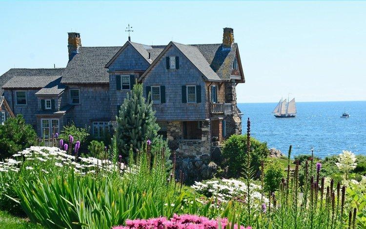 the sky, flowers, the sun, shore, sea, horizon, the bushes, sailboat, house, usa, mansion, kennebunkport