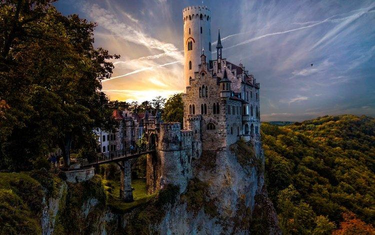 the sky, trees, forest, rock, bridge, castle, tower, germany, liechtenstein, lichtenstein