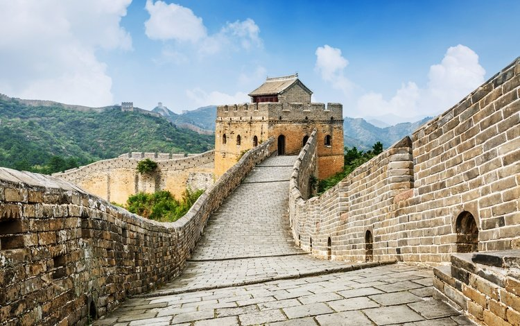 the sky, clouds, mountains, nature, china, the great wall of china