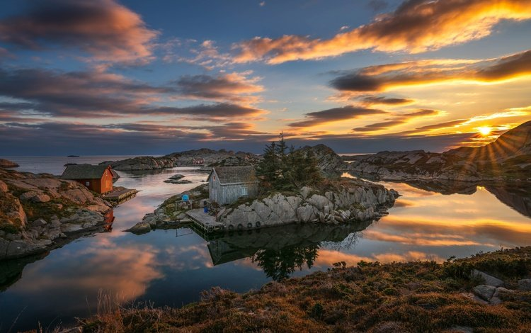 the sky, clouds, the sun, stones, sunset, sea, houses, coast, bay, norway, rogaland