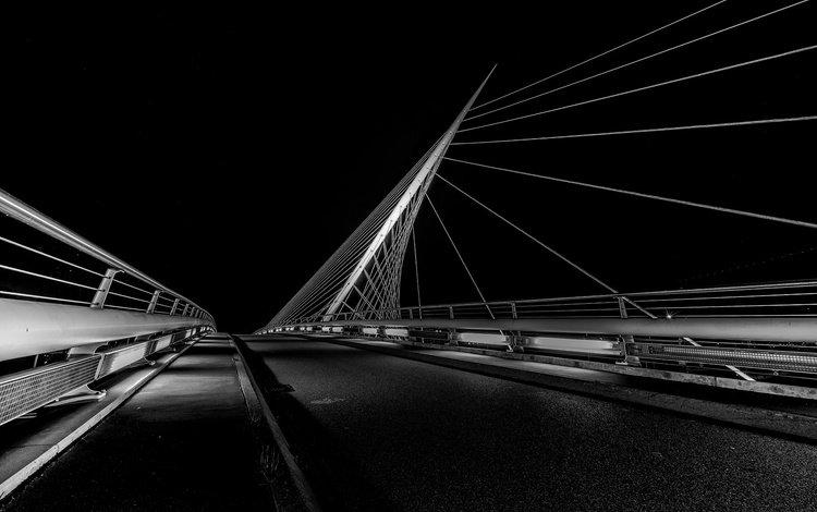 night, bridge, black and white, support, netherlands, nieuw-vennep