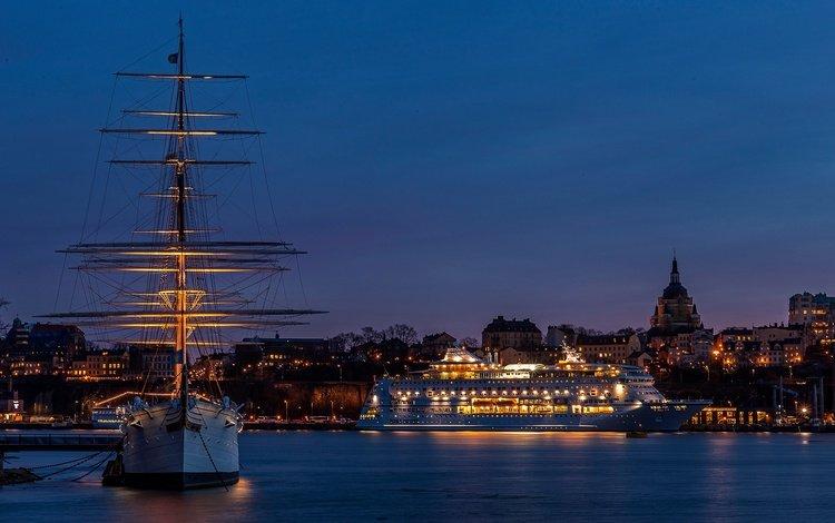 night, lights, ship, sailboat, coast, bay, home, sweden, liner, court, stockholm