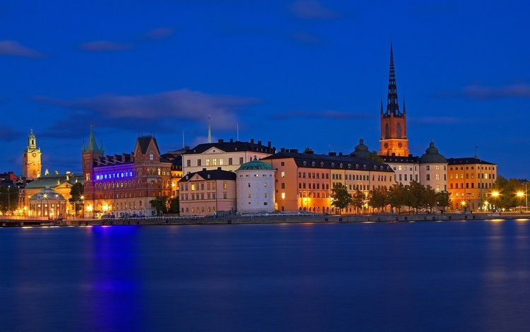 ночь, огни, море, дома, швеция, стокгольм, night, lights, sea, home, sweden, stockholm