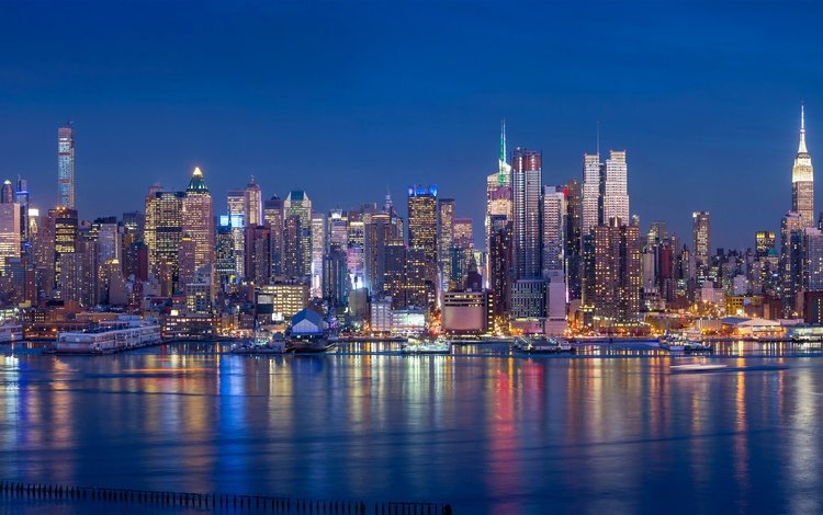 night, lights, panorama, coast, skyscrapers, bay, usa, new york, building, piers