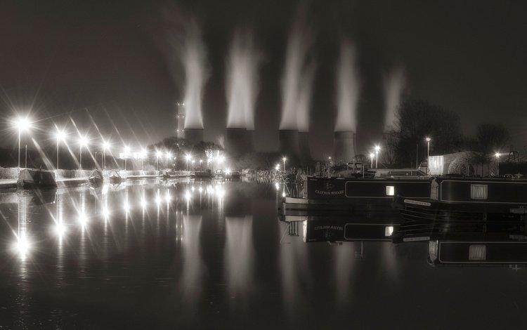 night, lights, landscape, black and white, england, nottingham, power station ratcliffe