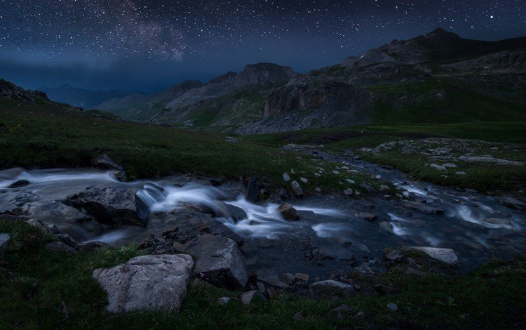 ночь, горы, камни, звезды, ручей, поток, франция, национальный парк меркантур, night, mountains, stones, stars, stream, france, the mercantour national park