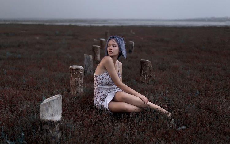 трава, vyacheslav korotkiy, девушка, поза, взгляд, ножки, волосы, лицо, аня, grass, girl, pose, look, legs, hair, face, anya
